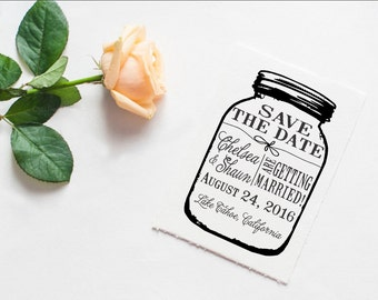 Mason jar Save the Date Custom rubber stamp great for DIY Save the dates --13028-CB34-000