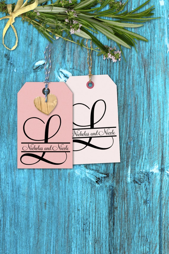 Monogram rubber stamp Initial with names through it for wedding decorations 2x2 --13022-CB17-000