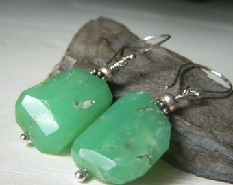 Chrysoprase Earrings Sterling Silver Dangle, Nugget Earrings, Jade Green Gemstone Earrings, Handmade Gemstone Jewelry