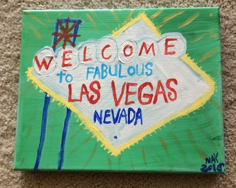 Welcome To Las Vegas Sign Word Art Folk Painting