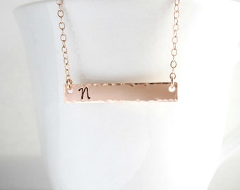 ROSE GOLD initial bar necklace Personalized gift for her Horizontal bar Handstamped name plate Dainty Rose Gold necklace Pink gold initial