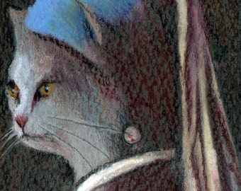 original art drawing aceo card cat with a pearl earring Vermeer anthropomorphic animal in clothes