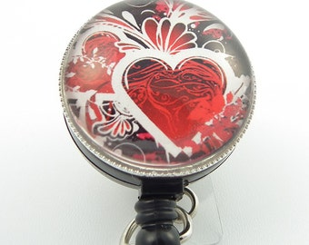 Magnetic ID Badge Holder - Red Heart with Black Photo Glass on  Black Badge Reel