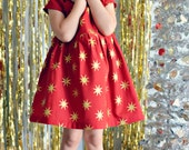 Dress red gold stars baby girl 4th of July outfit USA toddler first birthday dress photo shoot flower girl dress wedding