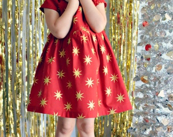 Dress red gold stars baby girl Fall outfit toddler first birthday dress Holiday photo shoot flower girl dress wedding Christmas dress