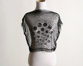 Vintage Sheer Sequin Blouse - Formal Evening Layering Top - Small