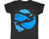 KIDS Vintage Whale Chart - T-shirt Boy Girl Children Toddler Youth Tee Shirt Narwhal Dolphin Humpback Nemo Dory Nautical Diagram Boat Tshirt