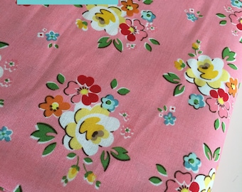 SALE Backyard Roses fabric, Main in Pink, Floral fabric, Discount fabric, Riley Blake Fabrics, Fabric by the yard, Choose your cut