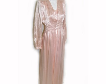 Vintage 1930's Light Pink Bias Cut Nightgown and Robe Set