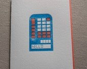 Letterpress Retro Calculator Greeting Card with Envelope