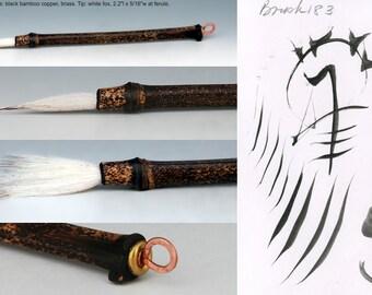 Handmade artists brush black bamboo and white fox hair b183