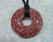 Deep Red and White Donut Necklace, Fused Glass Jewelry, Bold, Christmas - Mayleeyah - -5