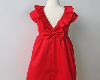 Red Dress for Toddler and Girl, Birthday Party, Holiday, Special Occasion or Flower Girl Dress