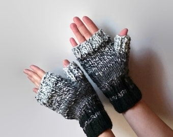Gradate Gray Wool Fingerless Mitts, Woman Mittens, Gloves, Fall Fashion, Winter Accessories, Chunky Knit, Mens, Hand Warmers Knitted