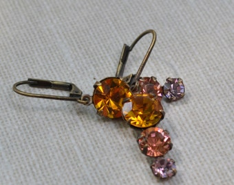 Topaz, Peach and Amethyst Swarovski Earrings, Fall Colors Wedding, Lever Back Pendant, Ombre Graduated Rhinestone, Bridesmaid Earrings