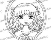 Sailor Girl Cameo Digital Stamp, Digi Colouring Page, PNG, Christmas, Anime Shoujo, Scrapbooking Supplies, Instant Download