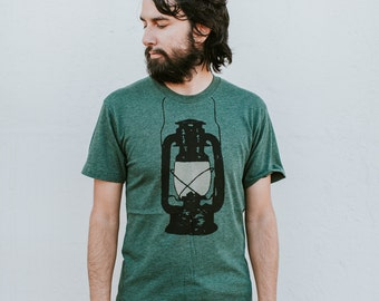 Night Scouting - mens camping tshirt | t shirt men - kerosene lamp on forest green - travel gift for him - adventure shirt - wanderlust