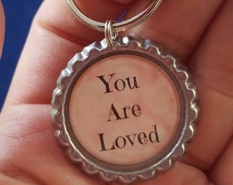 ONE 'You Are Loved' Bottle Cap Charm Keychain