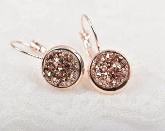 Rose Gold Druzy Earrings, Copper Sparkle Druzy Earrings, Rose Gold Earrings, Bridal Druzy, Bridesmaid Earrings, Faux Druzy Earrings, jlr0048