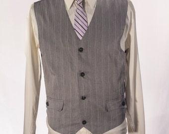 Men's Suit Vest / Vintage Grey Pinstripe Waistcoat / Size 39 / Medium