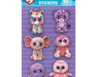 Beanie Boos Girl 3D Sticker Wiggle Eye 12/pkg • Beanie Boos TY Animal Sticker (BB0049S)