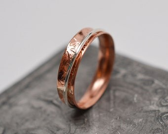 Narrow textured copper & argentium sterling silver wire bands minimalist spinner ring
