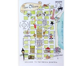 Set of New Orleans Watercolor Map Postcards