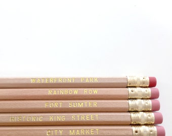 Charleston Hometown Pencil Set ™  // Gold Foil