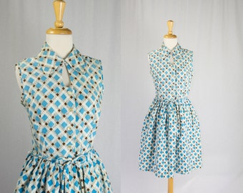 Vintage 1950's Atomic Print Shirtwaist Dress Great Day Dress in Turquoise and Chocolate sz Large