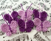 Crochet Butterfly Appliques - Purple Butterflies