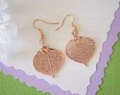 Aspen Leaf Earrings Rose Gold, Aspen Leaf, Small Size Earrings, 24kt Rose Gold Earrings, LESM103