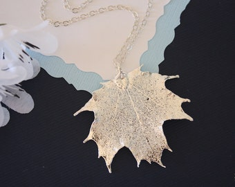 Real Sugar Maple Leaf, Real Silver Leaf, Maple Leaf Necklace, Canadian Leaf, Sterling Silver, LC77