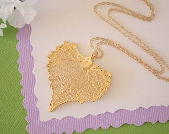 Gold Cottonwood Leaf Necklace, Cottonwood, Real Gold Leaf, Real Cottonwood Leaf Necklace, Heart Shaped Leaf, Gold Filled, LC168