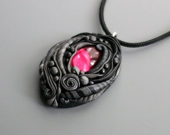 Pendant Necklace Polymer Clay, Black and Antique Silver with Vintage Rose Pink Cabochon