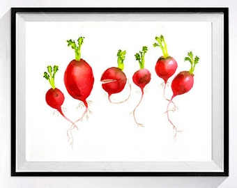 Origina lWatercolor Painting Fresh radishes in artwork Kitchen wall decor painting red painting Vegetable garden red wall art K