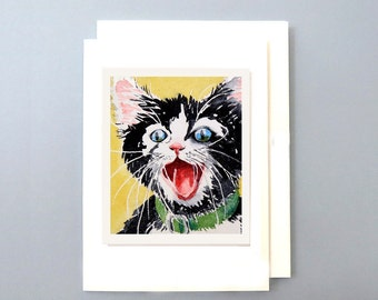 Blank Card Inside / Black Tuxedo Cat Art / Greeting card / Watercolor Gift card / Crazy black kitty cat art with a tuxedo / 7 x 5 / A7