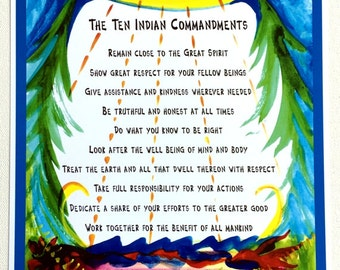 TEN INDIAN COMMANDMENTS 8x11 Native American Wisdom Inspirational Quote Motivational Typography Poster Heartful Art by Raphaella Vaisseau