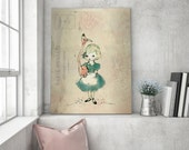 Flamingo and Alice Girl love - Holli - Nursery Wall Art - Nursery Decor - Childrens Art - Kids Wall Art - Nursery Art