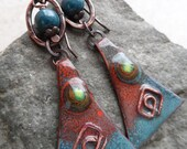 Dreaming of Tucson ... Enameled Copper and Copper Ring Rustic, Boho, Southwestern, Native, Tribal Earrings