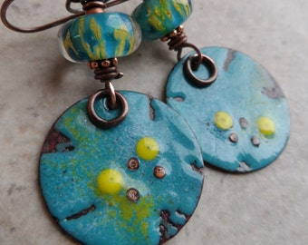 Reflection Pools ... Enameled Copper, Artisan-Made Lampwork and Copper Wire-Wrapped Rustic, Boho, Woodland, Beachy Earrings