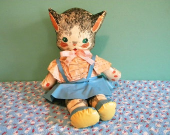 Vintage Vinyl Kitty Cat Stuffed Toy Anthropomorphic Kitten in Dress