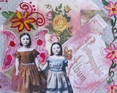 Handmade Altered Art Folded Greeting Card, Size 5x7, 3D, Blank Inside, Sister, Friendship Fairies