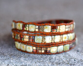 Earthy Brown Square Tile Beaded Triple Leather Wrap Bracelet, Handmade, Leather Wrap, 3x Wrap Brown Leather Bracelet, Boho Bracelet