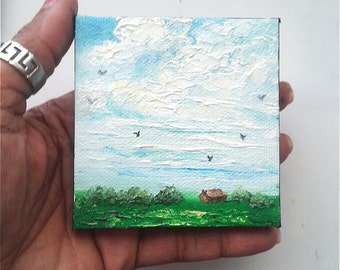 "Mini Oil Painting Landscape Huge Sky, Grass, House, Trees, Birds  3""x 3"" READY to SHIP"