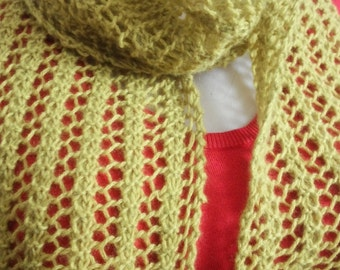 """Scarf Green Pure Cashmere Hand Knit Lacy 6"""" x 54"""" READY to SHIP"""