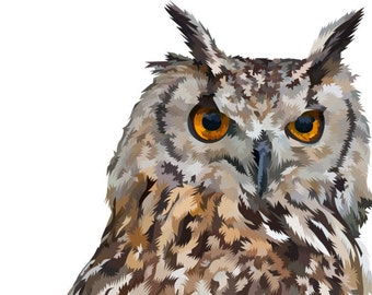 Owl. Cross Stitch pattern chart, Digital Download PDF. Complete body of wise owl. Very modern.