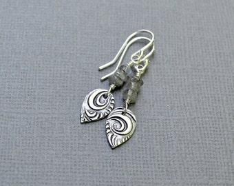 Silver Labradorite Sterling Silver Earrings Leaves Teardrop Dangle Earrings Gemstone Earrings Gray PMC Fine Silver