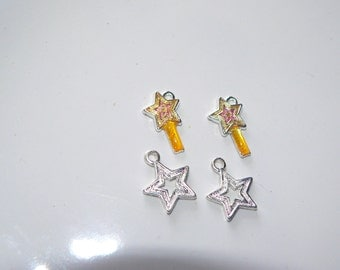 2 Silver Star Charm 2 Yellow Shooting Star Charms Jewelry Supplies Assorted Pendant