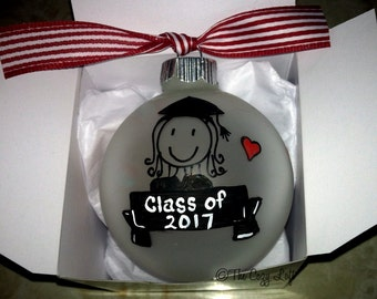 College Graduate Gift, Personalized Christmas Ornament, Elementary, High School, College, Preschool, Graduation Male or Female Cap & Gown