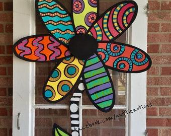 Flower Door Hanger, Flower Wreath, Summer Door Hanger